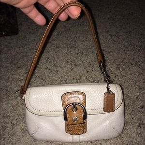authentic COACH white leather wristlet