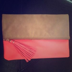 H&M Handbags - Neon peach & tan tassel clutch.