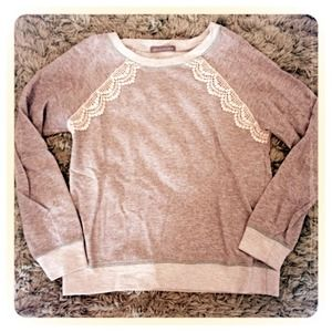 Gray Crew Neck with Lace Accent