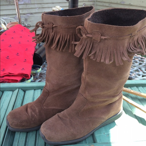 Anthropologie Shoes Boho Suede Fringe Boots By Mini
