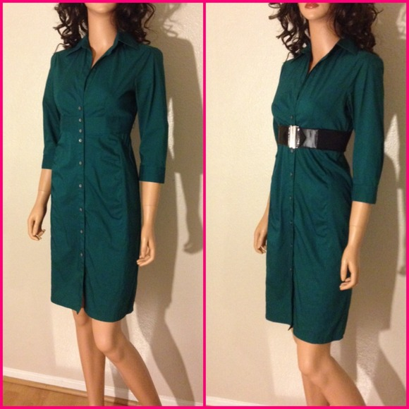 Express Dresses & Skirts - EXPRESS Emerald Green Shirt Dress Sz 2