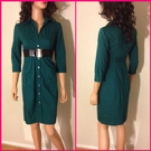 Express Dresses - EXPRESS Emerald Green Shirt Dress Sz 2