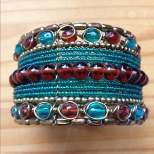 Unique Old World Inspired Beaded Cuff Bracelet