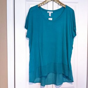 Ambiance Apparel Tops - ☀Gorgeous Green Hi-Low Chiffon Trim Top Size 3X