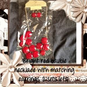Jewelry - A set of red bauble earrings and necklace.