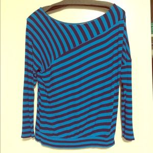 Blue striped 3/4 Anthropologie Top