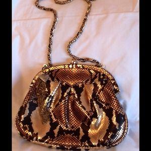 Faux metallic snake skin shoulder bag