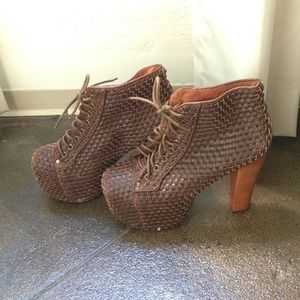 Jeffrey Campbell Shoes - Brown Woven Jeffrey Campbell Litas
