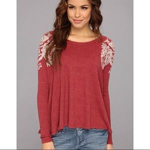 NWT Free People Thermal Red With Shoulder Detail