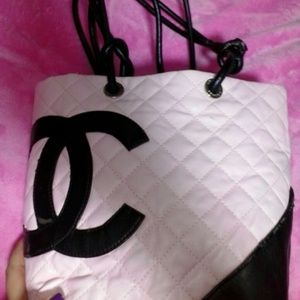 Chanel inspired pink and black tote bag