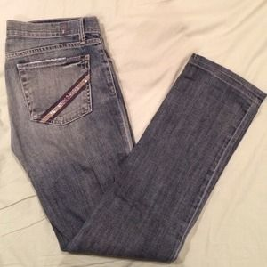7FAM Swarovski Crystal Straight Leg Denim 27