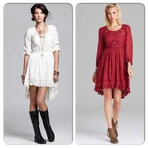 Free People Vintage Lace Crochet Hi/Lo Dress 6