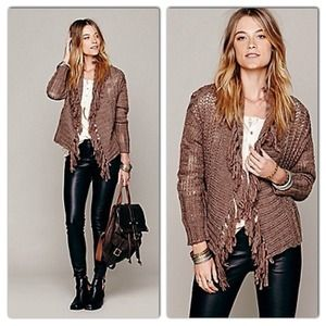 NWT Free People Fringe Sweater Cardigan Jacket S