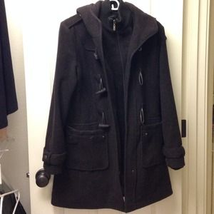 Outerwear - Dark Brown Hooded Wool Coat