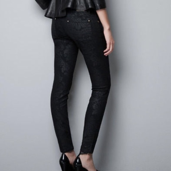 Zara - Zara power black printed jeans US4/EUR36 from Ellie's ...