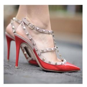 Shoes - NEW Sexy Nude & Red Studded Pointy Toe Pumps