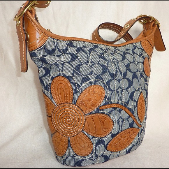 Coach Handbags - *sold* COACH BLUE JEAN DENIM BLEEKER FLOWER TOTE!