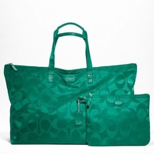 Coach Large Jade Packable Weekender
