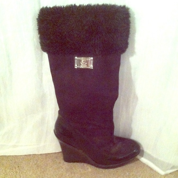 71 guess boots guess fur trimmed wedge boot from