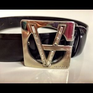 💯 VERSACE Authentic Vintage Black Leather Belt