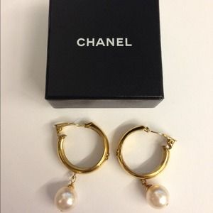 CHANEL Jewelry - Authentic Chanel Pearl Hoop Drop Clip On Earrings