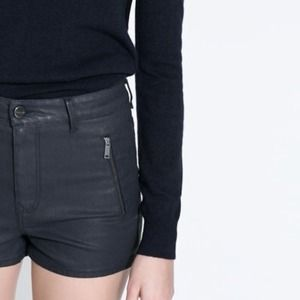 Zara Denim - Zara Leather look shorts