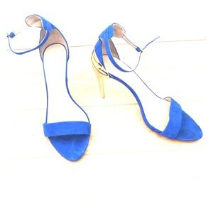 Zara royal blue sandals with golden heel size 40