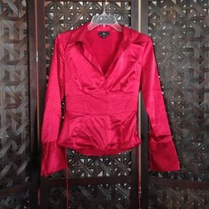 Tops - NWOT! Red silky blouse w/ flared cuffs.