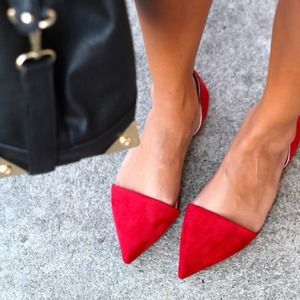Zara Shoes - New Zara Vamp Pointed Toe Flats w Heel - Red Suede 1