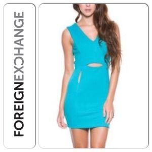 Foreign Exchange Dresses & Skirts - Teal Bodycon Cutout mini dress NWT