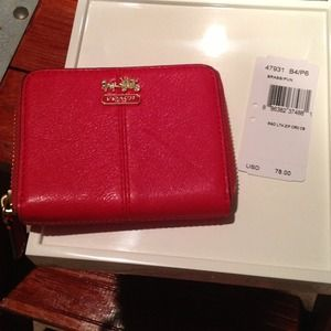 Coach *Brand New* Madison Leather Zip Card Case