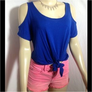 Blue Open shoulder top