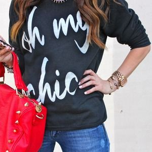 ily couture Tops - Oh My Chic Charcoal Top
