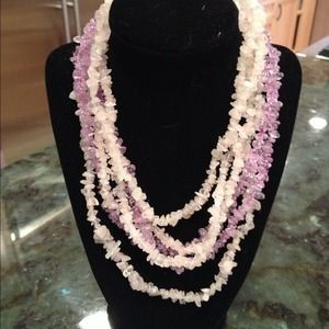 Pink and lavender bead necklace