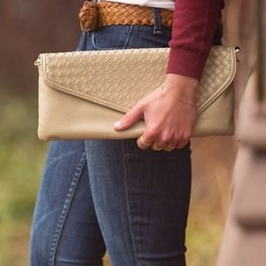 Beige gold envelope clutch