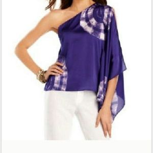 INC International Concepts Tops - Assymetrical kimono split sleeve purple tie dye