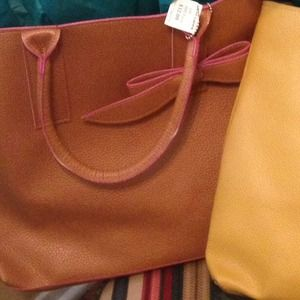 Pebble Handbag with Bow Accent - 4 Colors - Brown