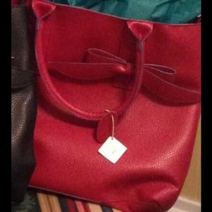 Pebble Handbag with Bow Accent - 4 Colors - Red