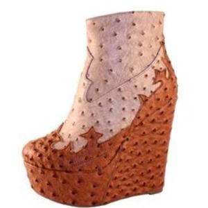 Jeffery Campbell Inspired Ostrich Wedge Booties