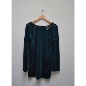Turquoise velvet dress