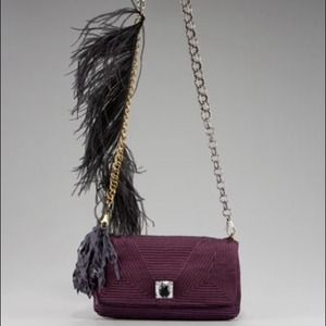 LANVIN Feathered Ouloulette Violet Shoulder Bag NT