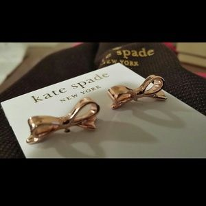 KATE SPADE  Rose Gold Skinny Mini Bow Earrings