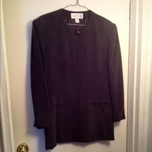 Jones New York Jackets & Blazers - Jones New York: Dressy Charcoal Suede Jacket