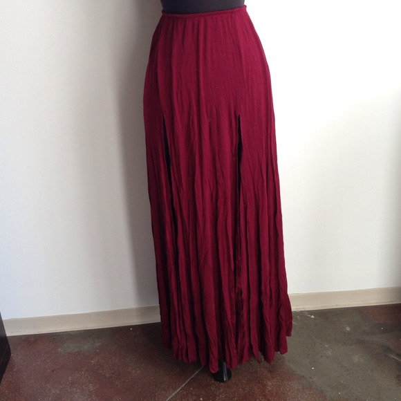 Urban Outfitters - Double Slit Maroon Maxi Skirt from Christine's ...