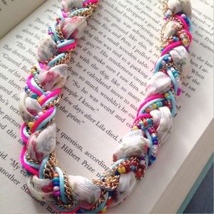 Braided fabric, rope and bead necklace