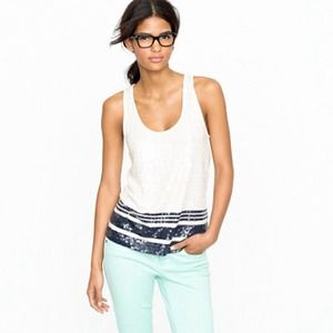 j. crew // sequin stripe tank • navy & white