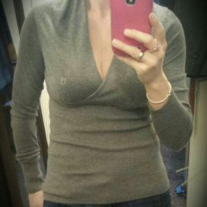 NWT Express Grey V-Neck Sweater Sz. S!