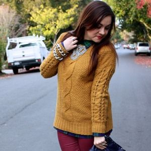 Ecote Sweaters - Mustard Yellow Knit Sweater
