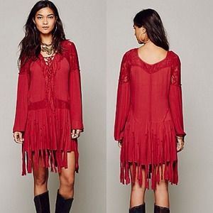 Free People Red Pirate Fringe Lace Gypsy Dress