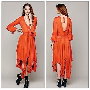 Free People Gypsy Roomy Ruffle Maxi Dress Orange